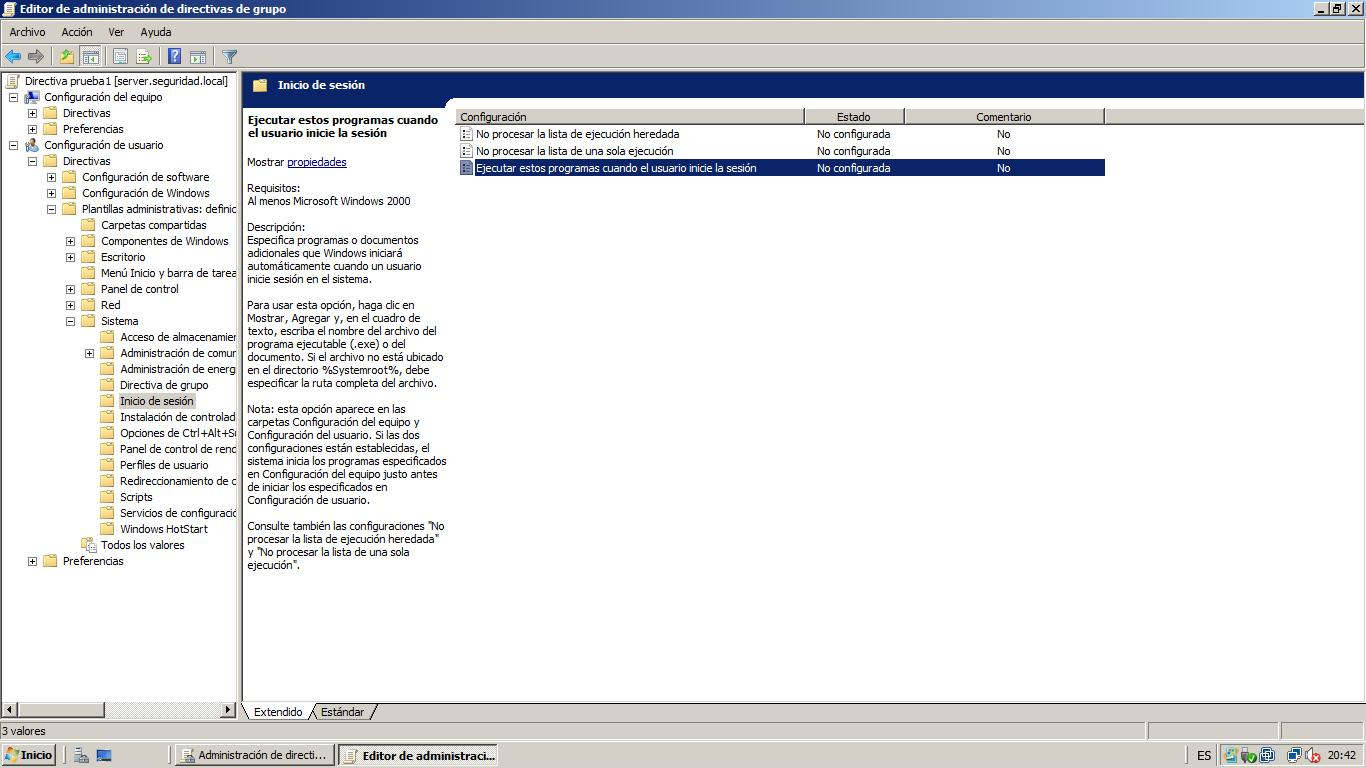 Windows Server 2008 Active Directory GPO, Directivas a usuarios ...