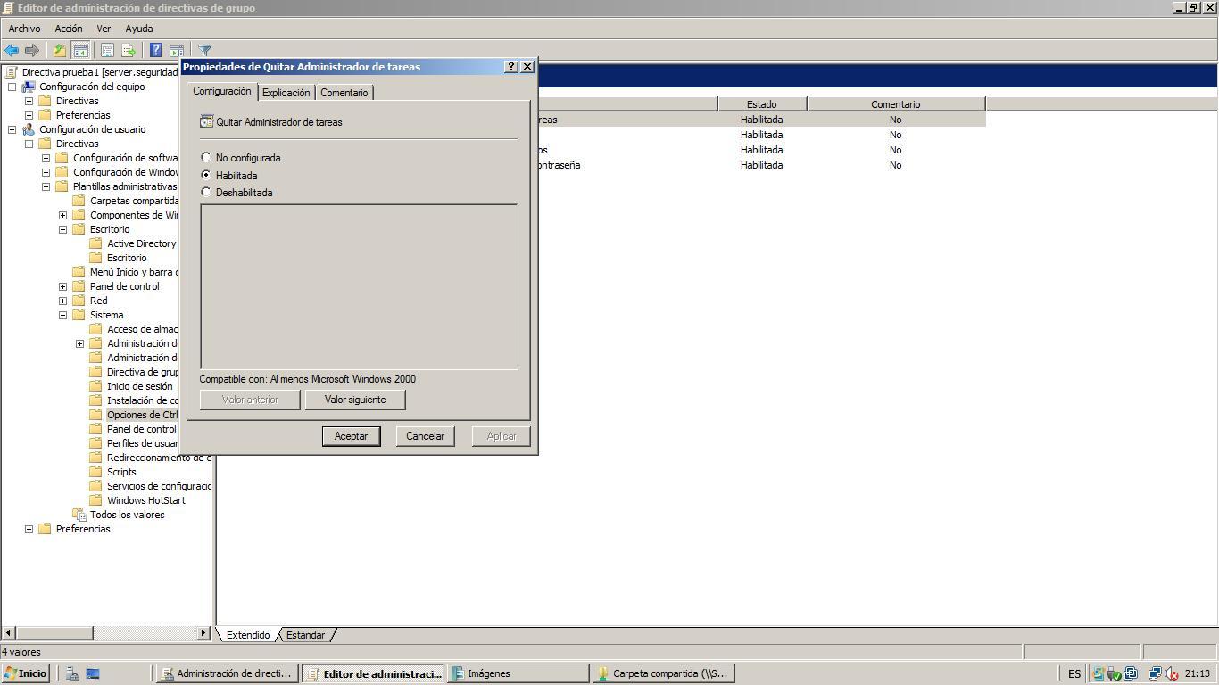Windows Server 2008 Active Directory GPO, Directivas a usuarios ...